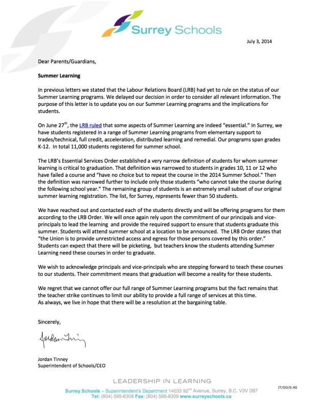 Superintendent-Parents All Schools July 3 2014