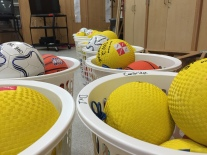 Sports equipment bins for every class. Thank you parents!