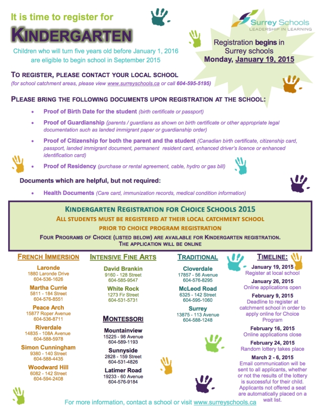 Kindergarten registration flyer 15-16