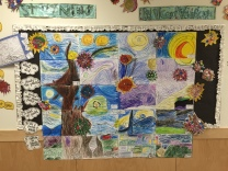 Kinder art from students in Ms. Jennings' class