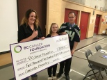 $2500 cheque presentation to BC Cancer Foundation