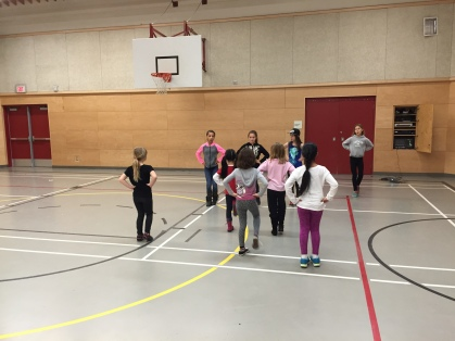 Dance group preparing for the February 27 assembly,