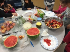 Preparing a healthy lunch in Ms. Taank's class