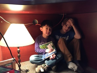 A visit to the Principal's office for some buddy reading.