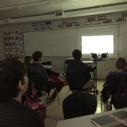 "Grade 6/7 students watch ""On the way to school."""