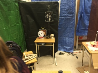 Division 1 students plan their haunted house station.