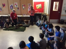Ms. Bomford introduces author Don Horn and his dog, Toby