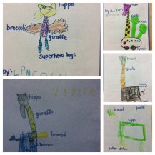 Kinder drawings from Ms. Weber's class.