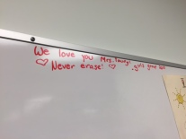 A lovely message left for CCW Mrs. Young