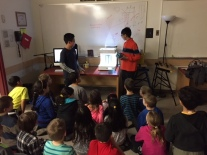 Students teach students about 3D printing.