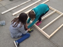 Developing real-life skills. This sound booth will eventually come together!!!