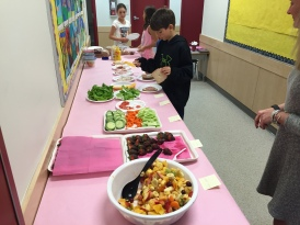 Mrs. Padam, Mrs. Jennings, and their students put on a Healthy Lunch