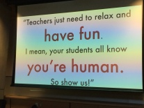 Important message at a teacher's learning session Monday night
