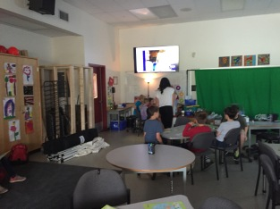 Ms. Steeves and students participate in a MysterySkype