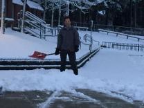 Mr. Nelson shovelling snow